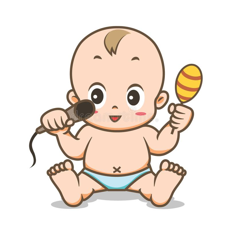 Baby Playing Sitting Down Vector Illustration. Baby playing with microphone and maraca while sitting down cartoon vector illustration on white background royalty free illustration