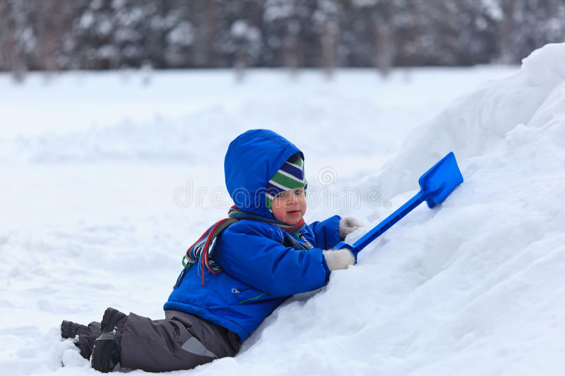 Baby Playing In Snow Royalty Free Stock Image