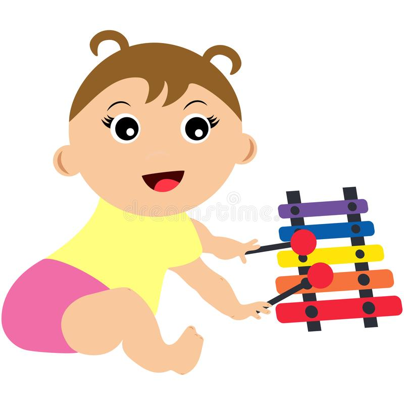 Baby playing xylophone. Illustration of baby playing colourful xylophone toy with sticks. Concept of educational games, intellectual growth of playing. Visit stock illustration