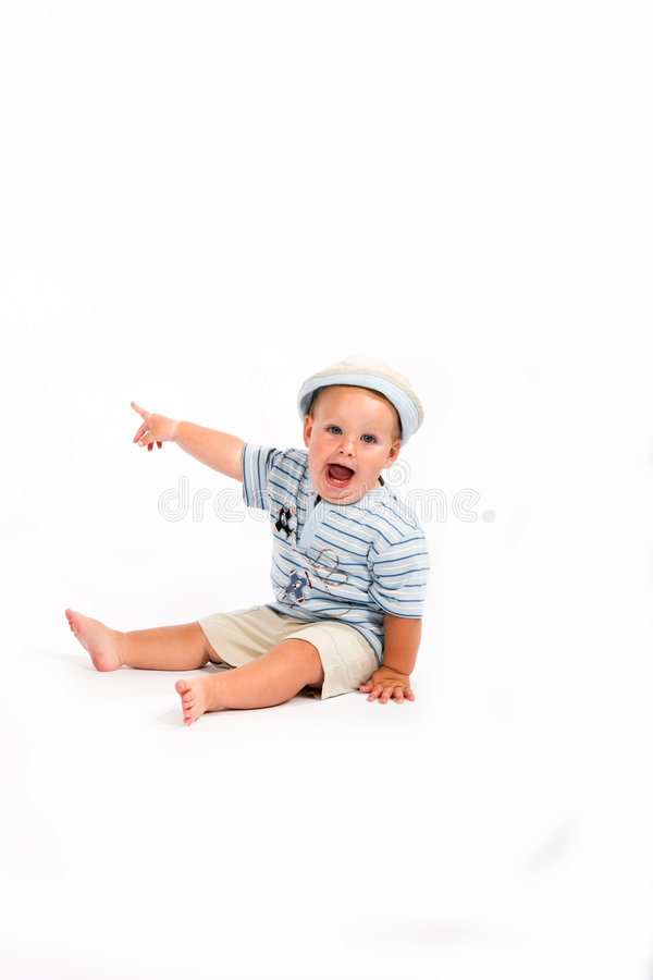 Baby pointing & talking stock photography
