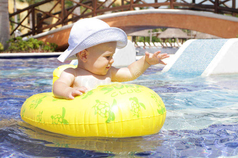 Download Baby in Pool stock image. Image of pamper, palm, vacation - 16334759