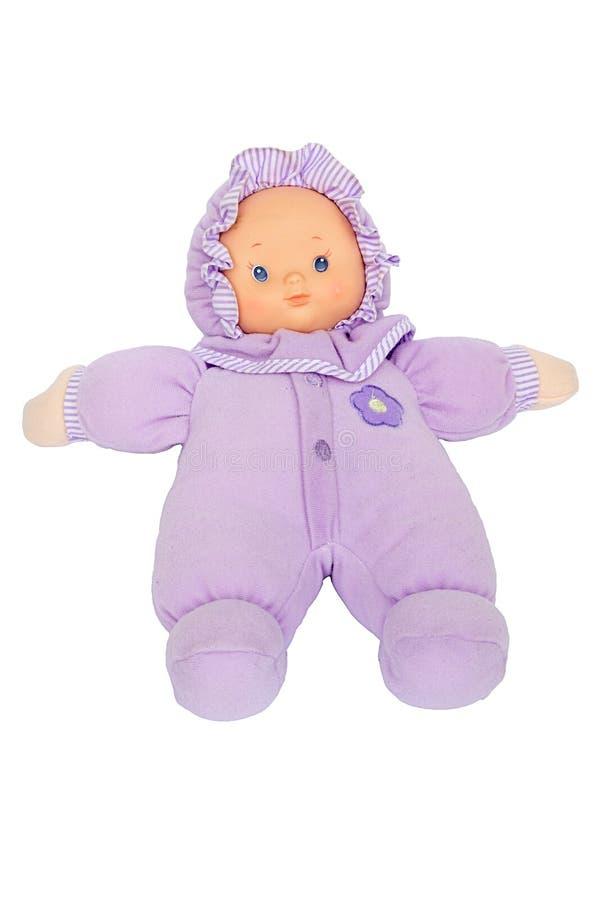 Baby - poppen purper kostuum stock foto's