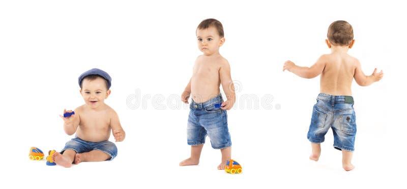 portrait of baby boy on white background royalty free stock image