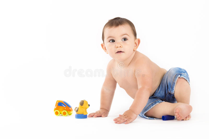 portrait of baby boy on white background stock image