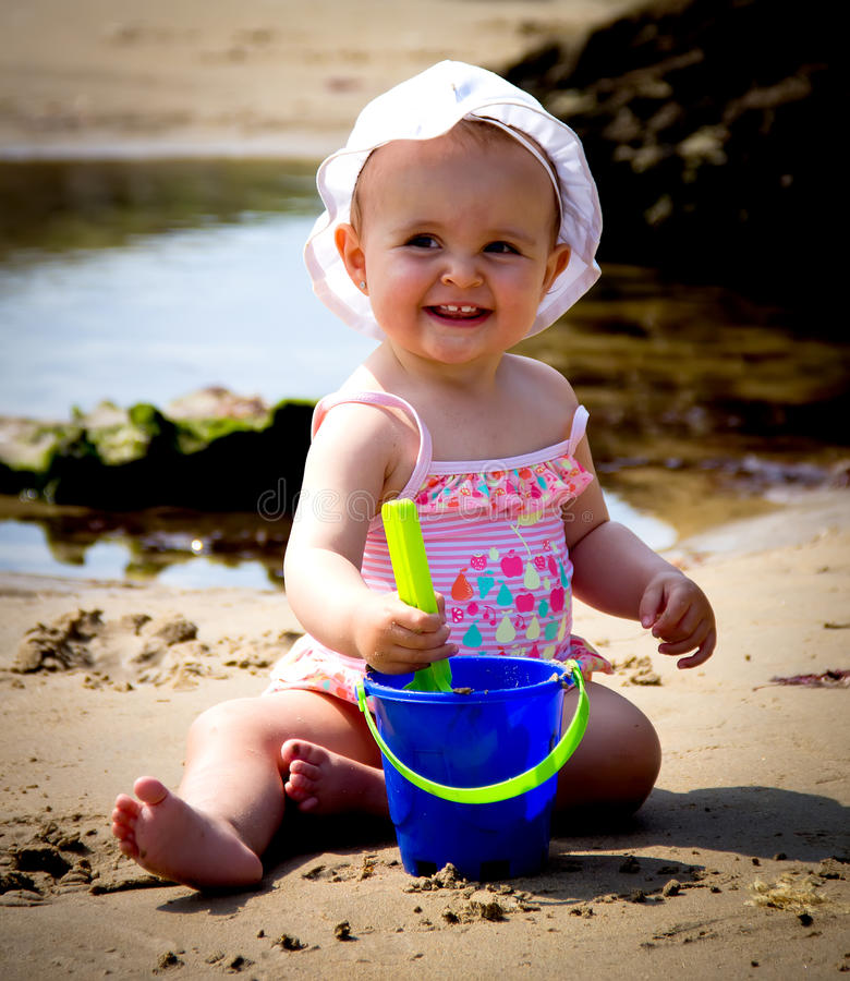 Download Baby portrait stock photo. Image of happy, beach, game - 32358384