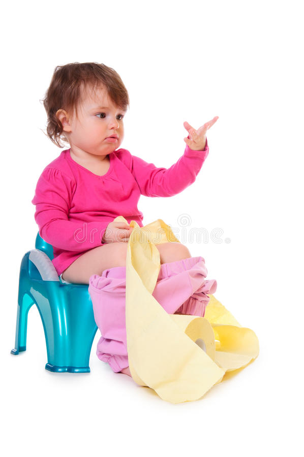 Download Baby on the pot stock photo. Image of daughter, sanitary - 24242806