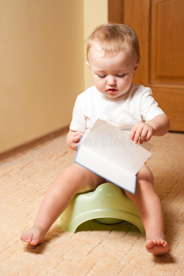 Download Baby on the pot stock photo. Image of infant, piddle - 26625000