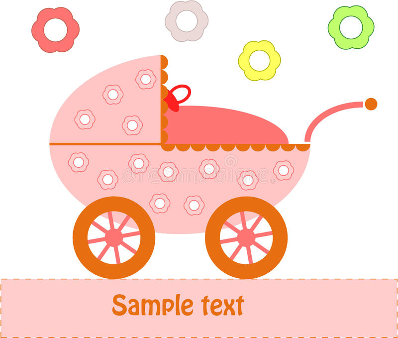 Download Baby Pram stock vector. Image of carriage, birthday, congratulate - 14604230