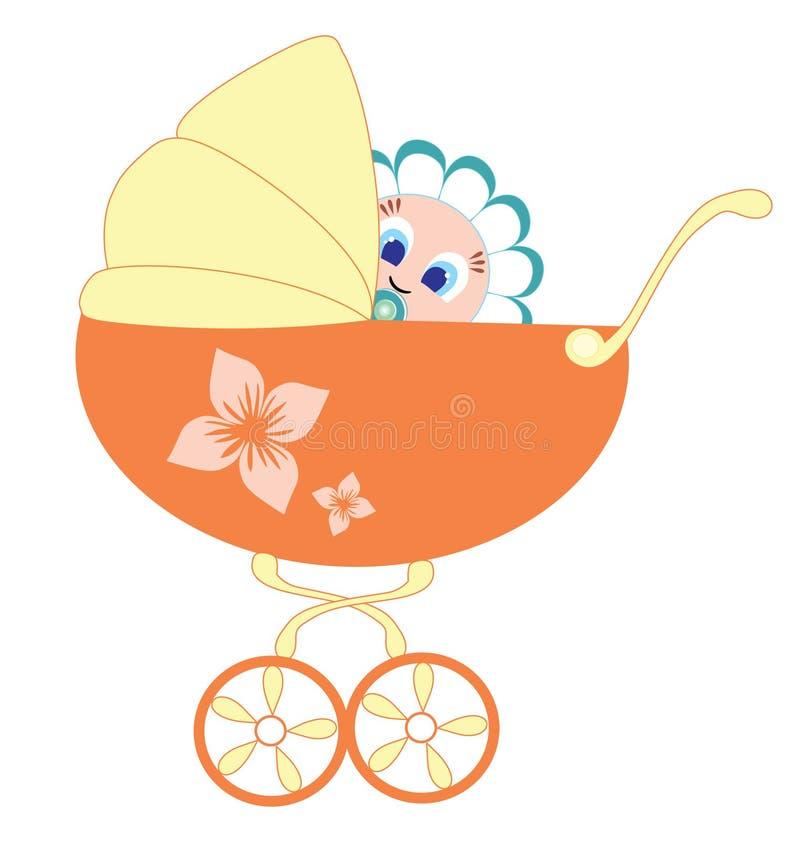 Download Baby and pram stock vector. Image of wheel, flower, sketch - 16106956