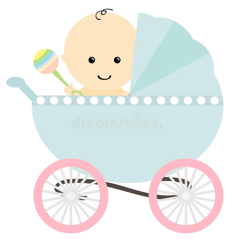 Baby in pram. Illustration of happy baby in pram