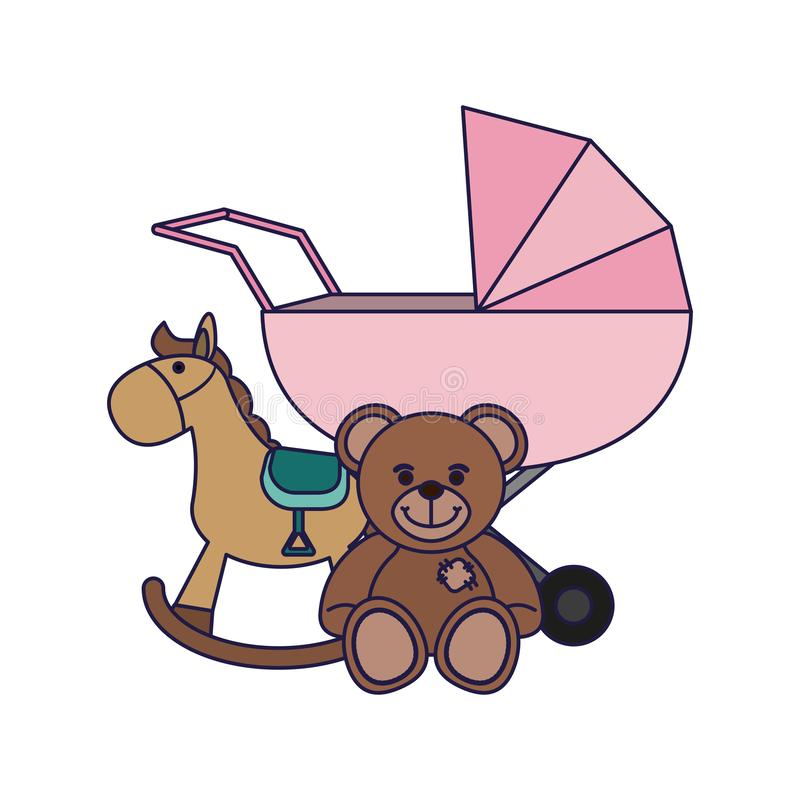 Baby pram and teddy with wooden horse. Vector illustration graphic design vector illustration