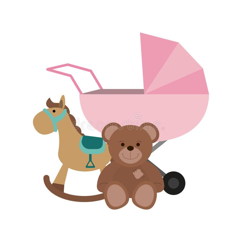 Baby pram and teddy with wooden horse. Vector illustration graphic design royalty free illustration