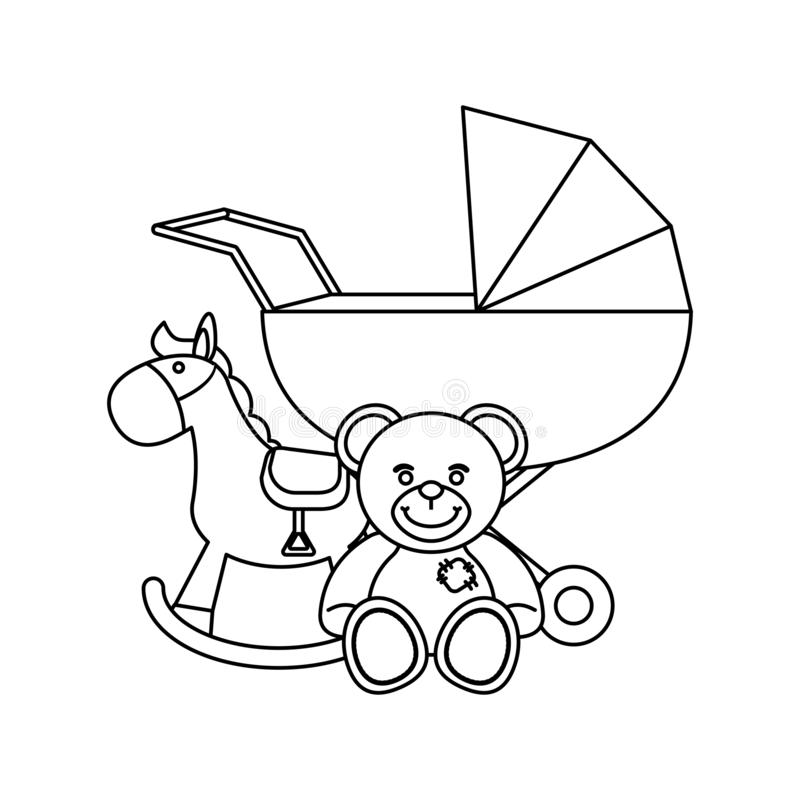 Baby pram and teddy with wooden horse in black and white. Baby pram and teddy with wooden horse vector illustration graphic design stock illustration