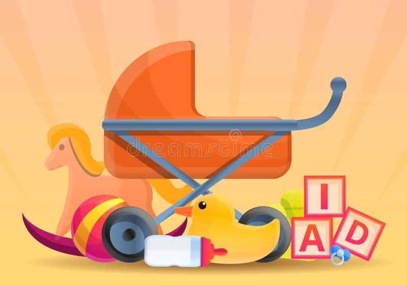 Baby pram toys concept banner, cartoon style. Baby pram toys concept banner. Cartoon illustration of baby pram toys vector concept banner for web design vector illustration