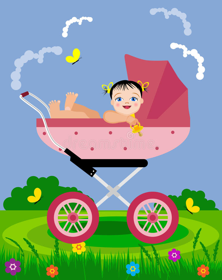 Baby in pram on a walk. vector illustration
