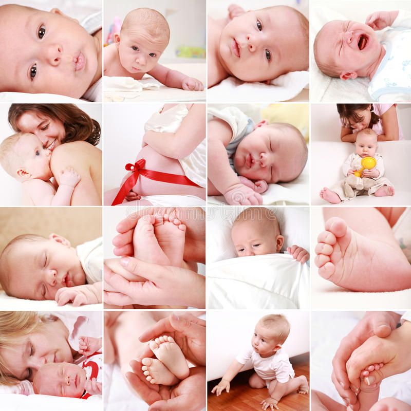 Baby and pregnancy collage. Collage of different photos of babies and family moments stock photo