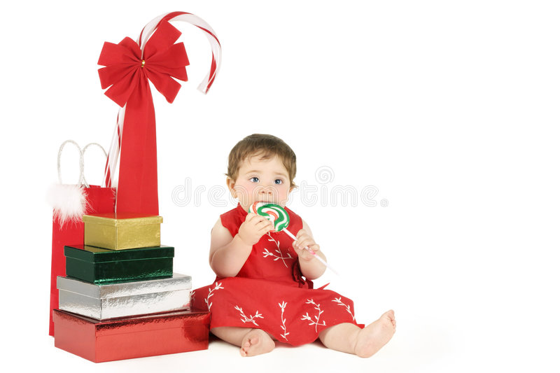 Baby with presents royalty free stock photography