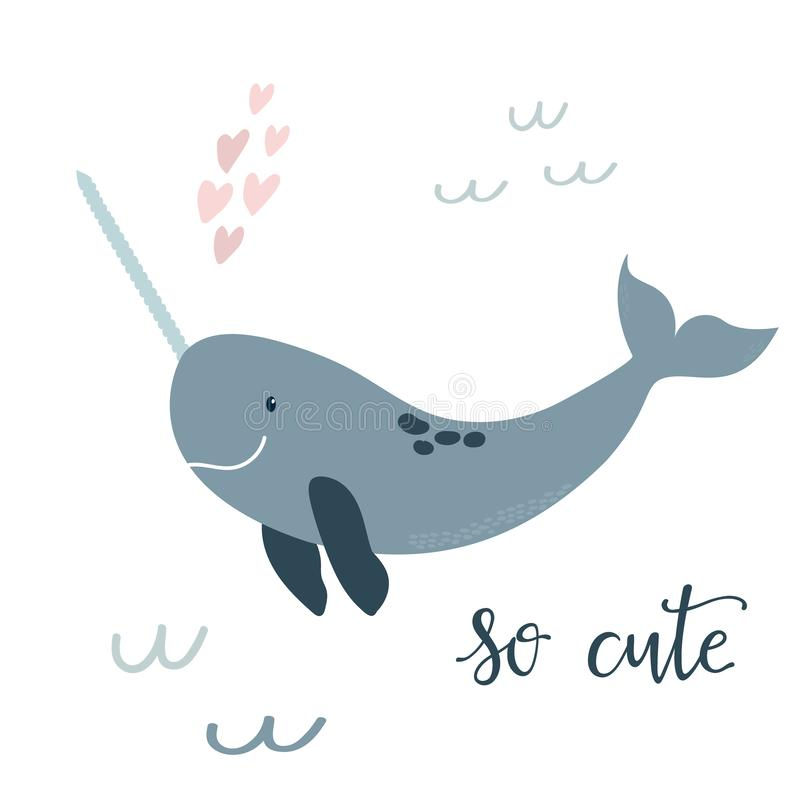 Baby print with blue narwhal. Hand drawn graphic. Baby print with blue narwhal: so cute. Hand drawn graphic for poster, card, label, flyer, page, banner, baby vector illustration