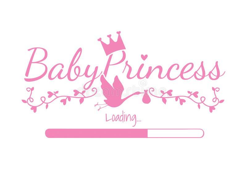 Baby-Prinzessin Loading, Vektor-Entwurf, Entwurf abfassend, Prinz Crown, Storch-Schattenbild vektor abbildung