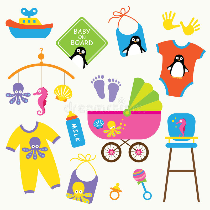 Download Baby Product Set stock vector. Image of children, child - 15190387