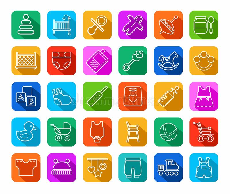 Baby products, contour icons, colored, flat. stock illustration