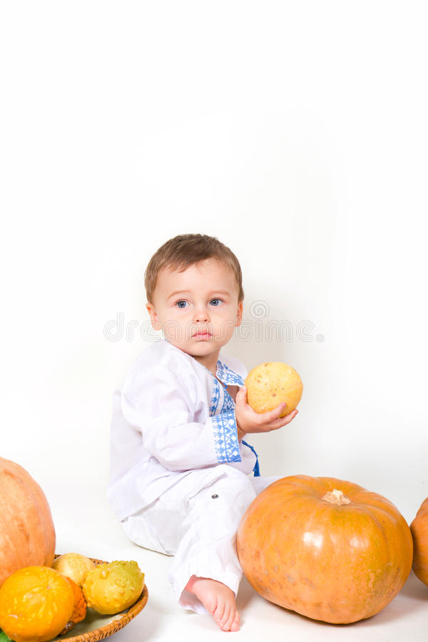 Download Baby and pumpkin stock image. Image of caucasian, eyes - 25586399