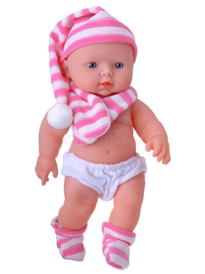 Baby - Puppenspielzeug in der Nachthaube stockbild