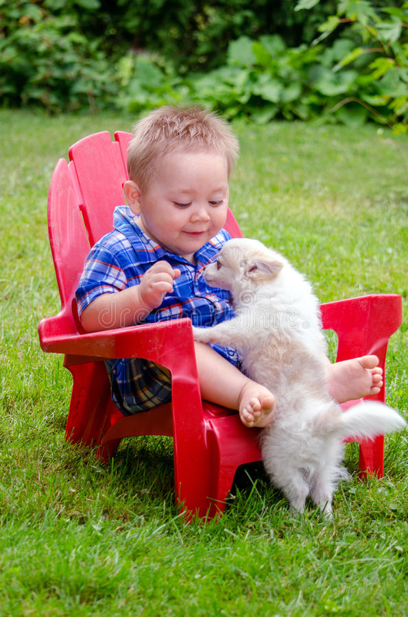 Baby and puppy stock photography