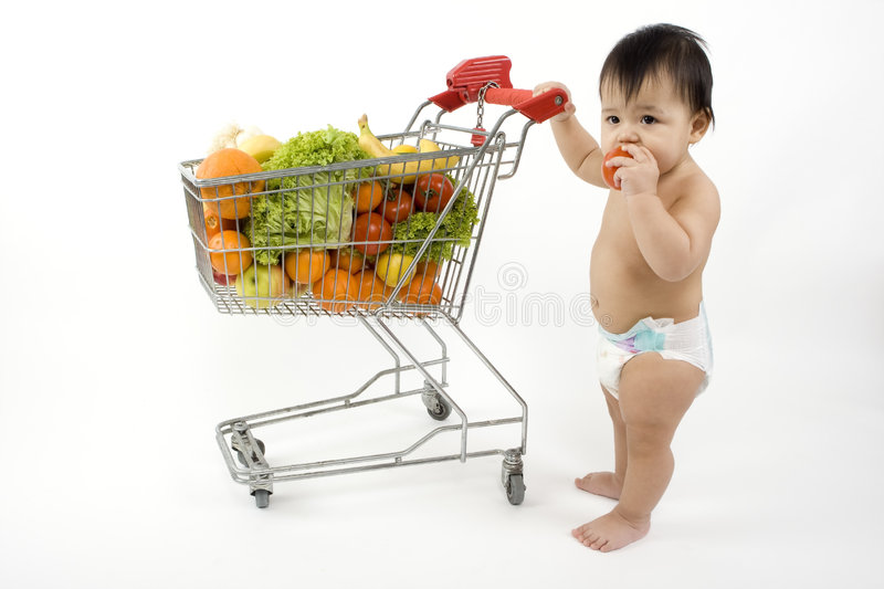 Download Baby Pushes A Shopping Cart Stock Photo - Image of baby, wire: 5217216