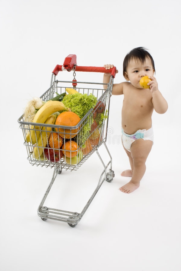 Download Baby Pushes A Shopping Cart Stock Photo - Image of budget, nutrition: 5217268