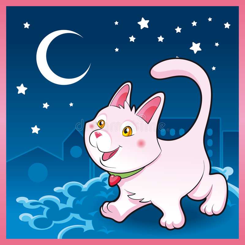 Download Baby cat in the night stock vector. Illustration of baby - 7998693