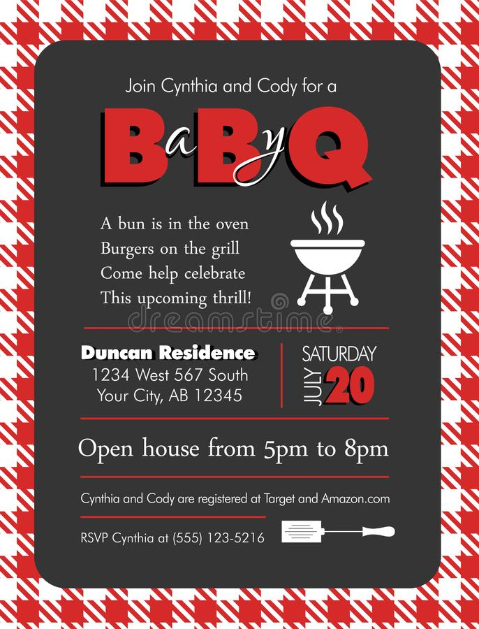 Baby-q Barbecue Baby Shower Template stock illustration