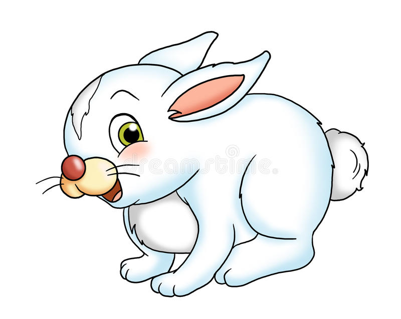Baby rabbit. Colored illustration of a smiling rabbit vector illustration