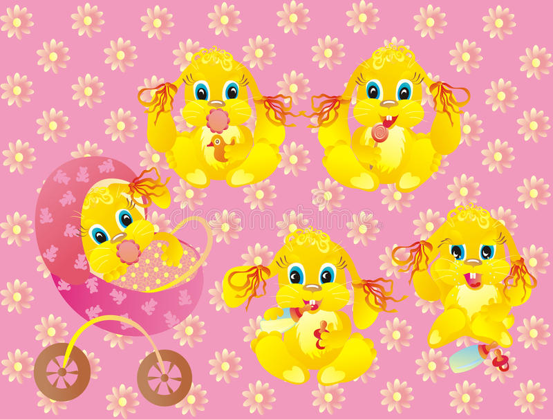 Download Baby Of Rabbit On Pink Background. Vector Stock Vector - Image: 12136434