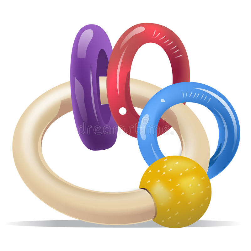 Baby Rattle Rings. Purple, Red, Blue and Yellow Baby Rattle Rings vector illustration