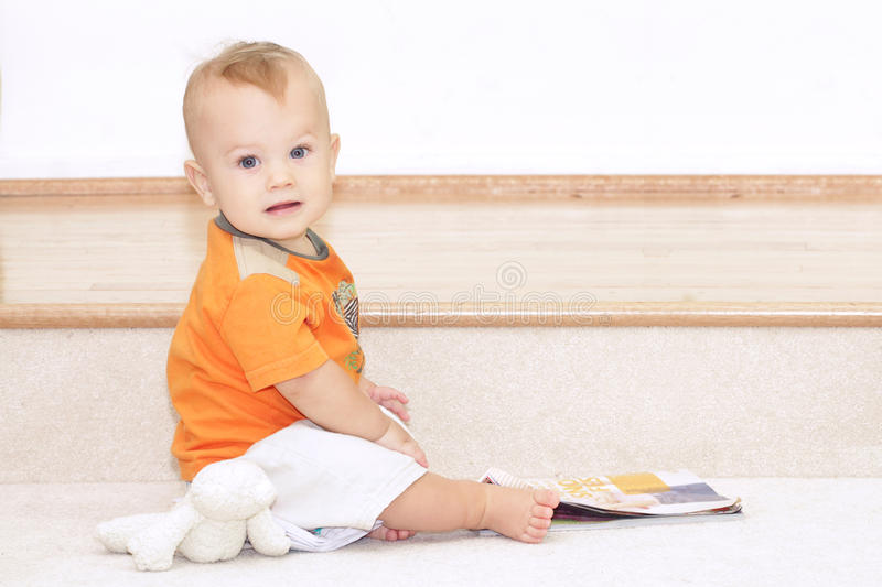 Download Baby Reading stock image. Image of home, book, child - 15894585
