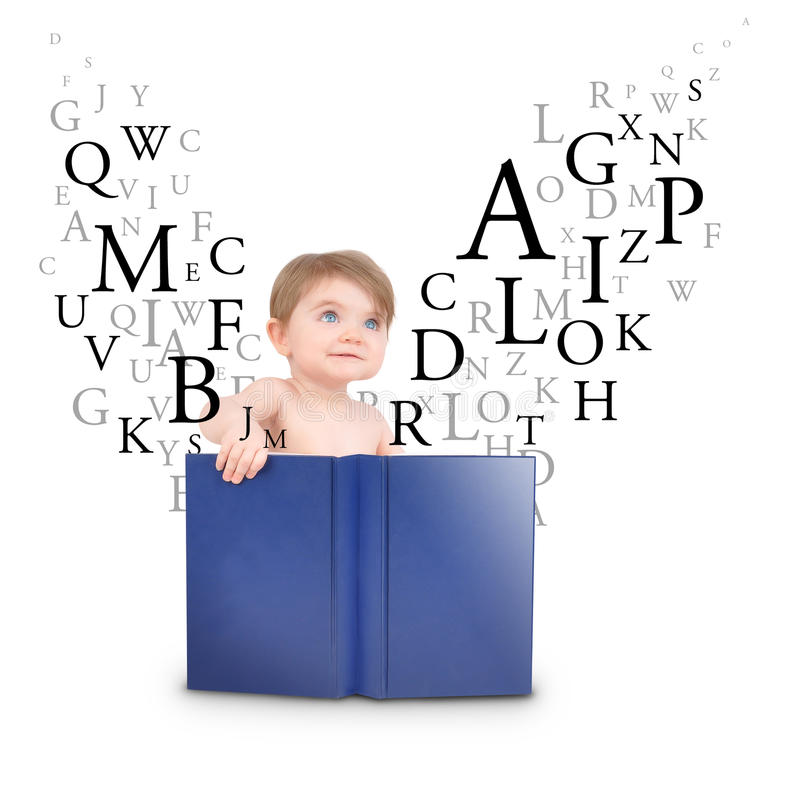 Download Baby Reading Book With Letters On White Royalty Free Stock Images - Image: 18954449