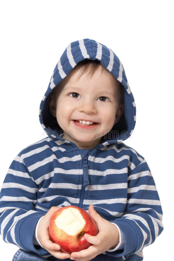 Download Baby with red apple stock image. Image of face, eating - 8210989