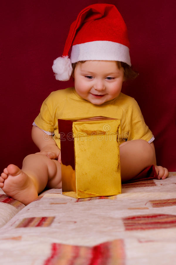 Baby in red hat royalty free stock images