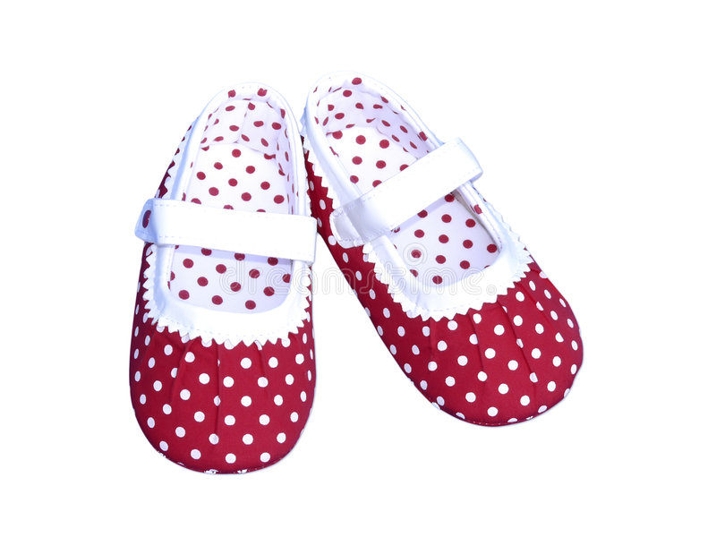 Baby red polka dot shoes. Isolated on white with clipping path stock image