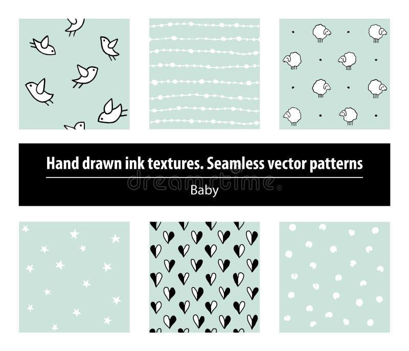 Baby Reeks naadloze patronen De inkttexturen van de handtekening vector illustratie