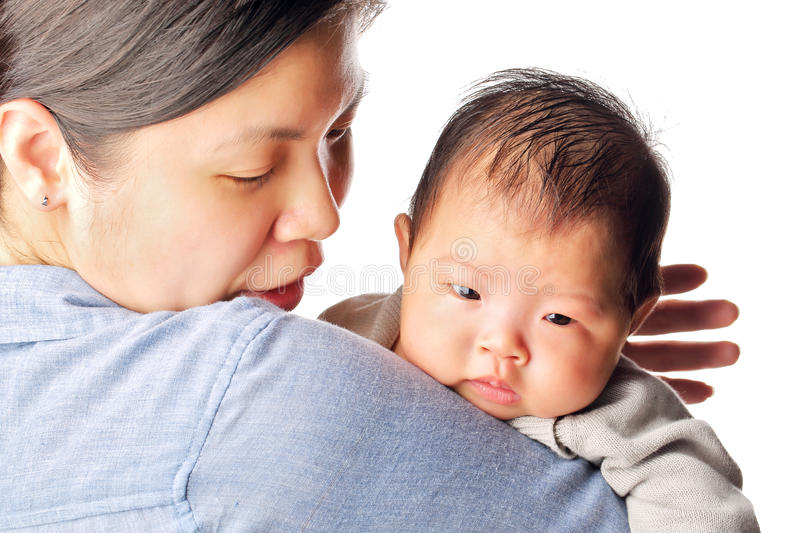 Download Baby rely on mother's arm stock photo. Image of parent - 24588990