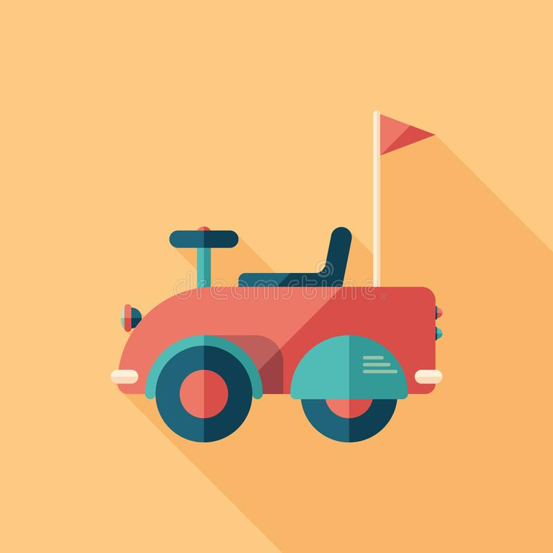 Baby retro car flat square icon with long shadows. vector illustration