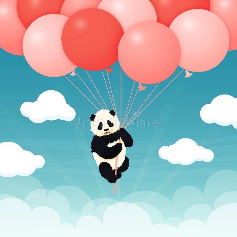 Baby reuzepanda die rode en roze ballons in de hemel met wolken vliegen Zwart-witte Chinees draagt welp royalty-vrije illustratie