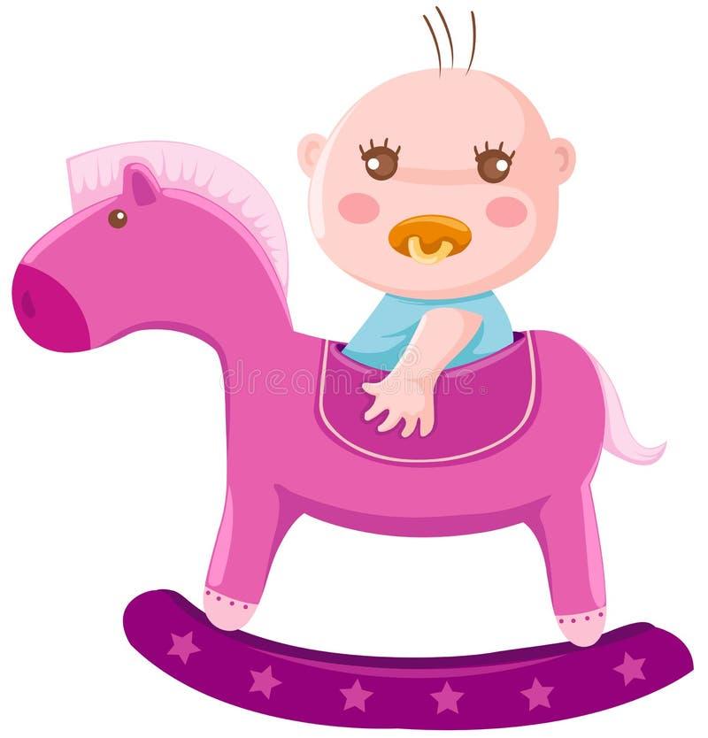 Baby on rocking horse. Illustration of isolated baby on rocking horse royalty free illustration