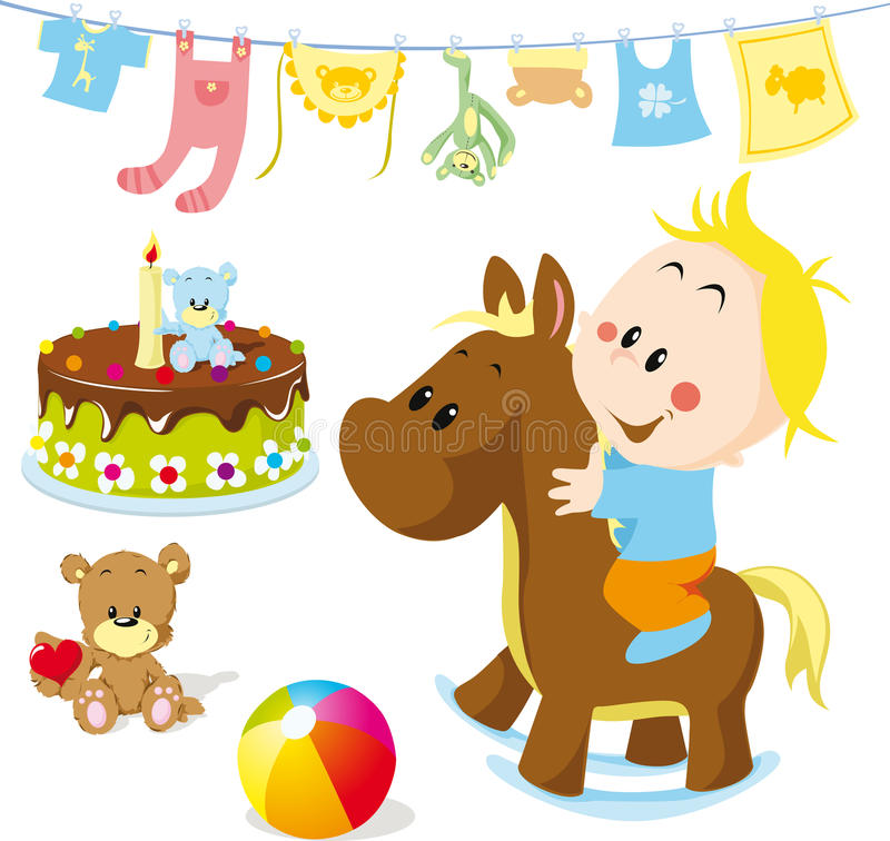 Baby on rocking horse. With toys and other elements vector illustration