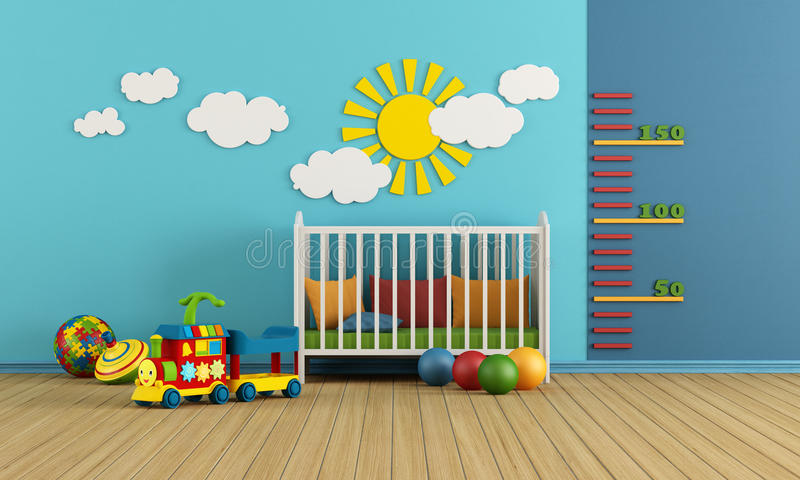 Baby room. Child room with baby crib and toys - rendering