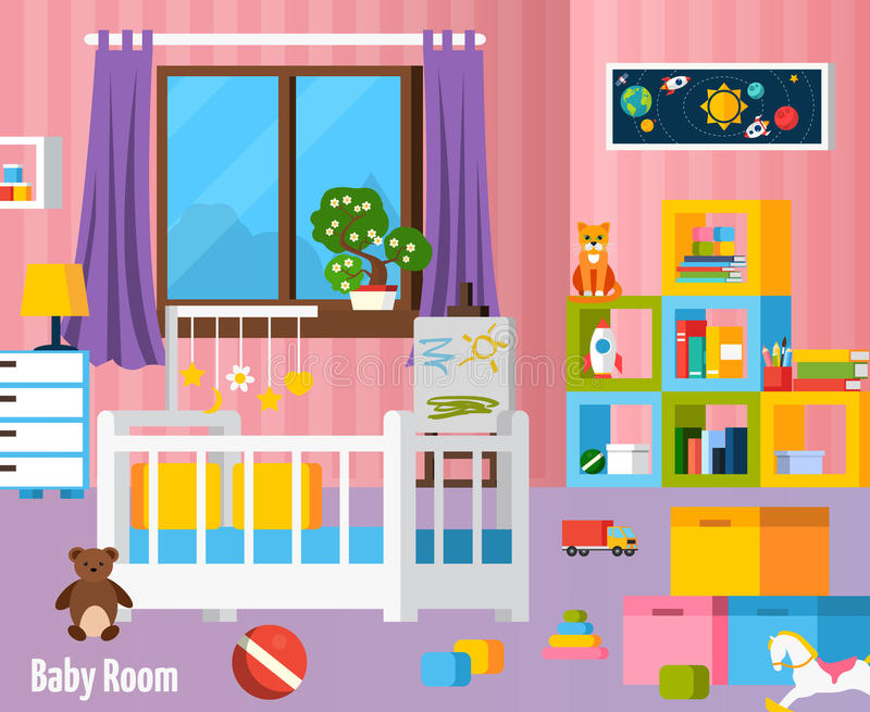 Baby Room Flat Colorful Composition vector illustration
