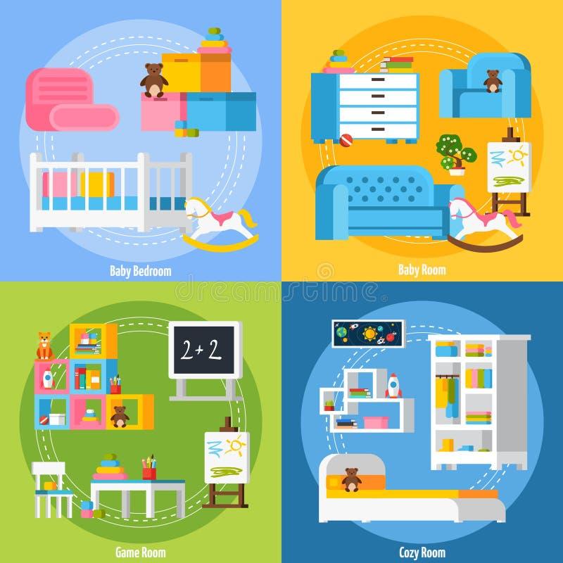 Baby Room Flat 2x2 Design Concept royalty free illustration