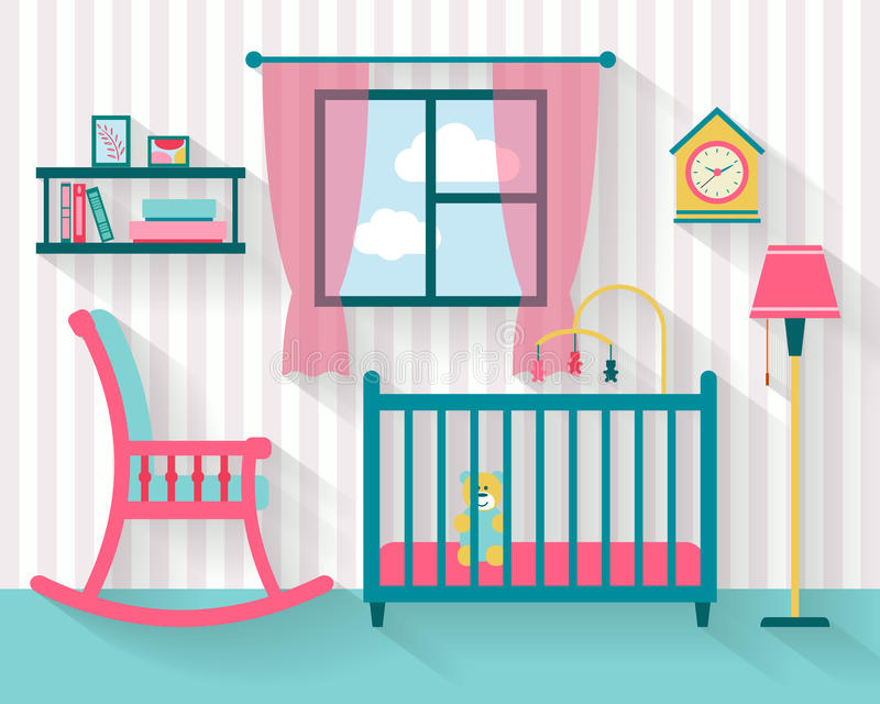 Baby room with furniture. Nursery interior. Flat style vector illustration royalty free illustration